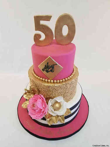 Numbers 35 Fuschia and Gold 50th Birthday Cake