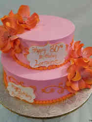 Floral 24 Pink and Orange Magnolias Birthday Cake
