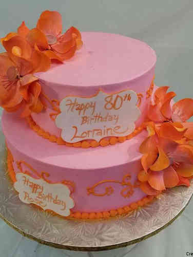Floral 24 Pink and Orange Magnolias Birthday Cake