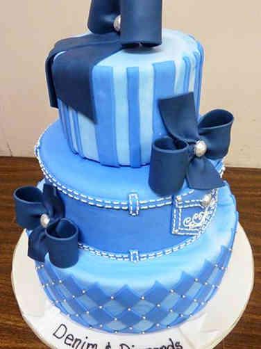 Unique 12 Denim and Diamonds Bridal Shower Cake