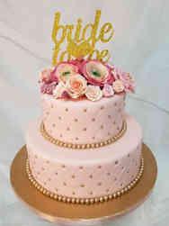 Floral 04 Elegant Pink and Gold Quilted Bridal Shower Cake