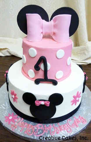 Girls 22 Minnie Mouse Silhouettes First Birthday Cake