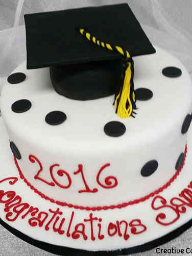 High School 19 Black, White, and Red High School Graduation Cake
