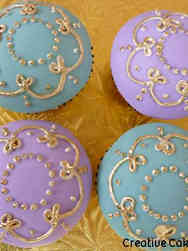 Adult 11 Delicate Gold Piping Birthday Cupcakes