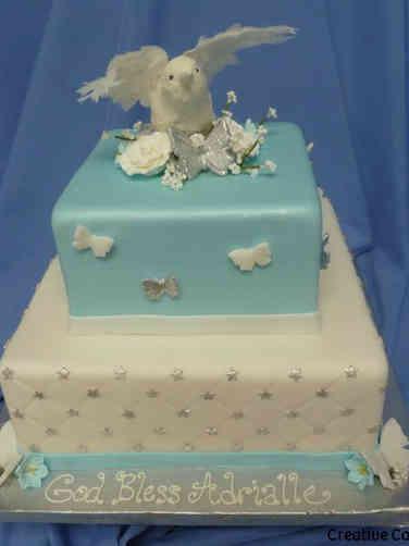 Baptism 06 Blue and White Dove Baptism Cake