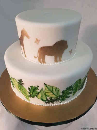 Neutral 48 Hand Painted Jungle Baby Shower Cake