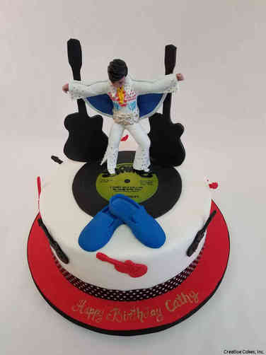 Pop 52 Elvis Blue Suede Shoes Birthday Cake