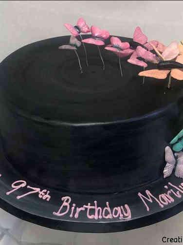 Feminine 46 Butterfly Cascade Birthday Cake