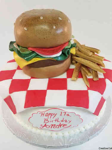 Food 37 Burger and Fries Picnic Birthday Cake