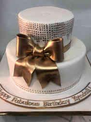 Feminine 48 Fabulous Gold and White Birthday Cake