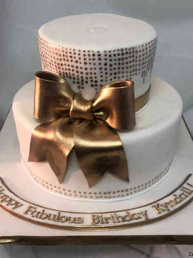 Feminine 48 Fabulous Gold and White Birthday Cake
