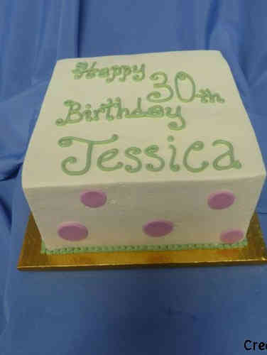 Other 10 Square Pink and Green Birthday Cake