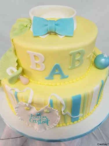 Boys 09 Little Man in Stripes Baby Shower Cake