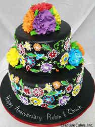 Unique 01 Mexican Embroidery Anniversary Cake