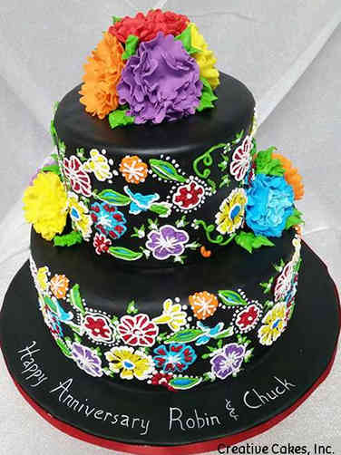 Unique 01 Mexican Embroidery Anniversary Cake