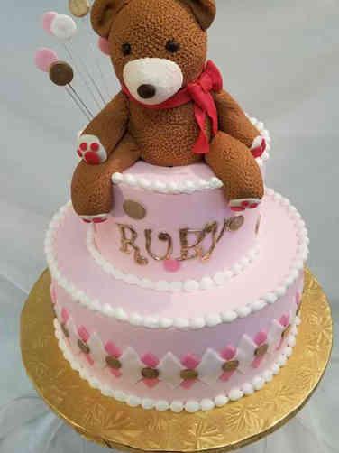 Girls 11 Teddy Bear Baby Shower Cake