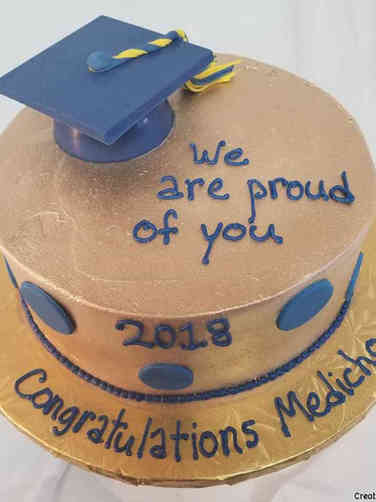 High School 02 Gold and Blue High School Graduation Cake