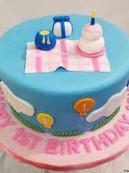 Girls 15 Tiny Picnic First Birthday Cake