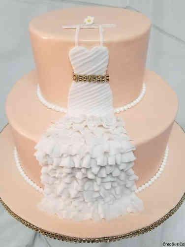 Dress 07 Peach and White Dress Bridal Shower Cake