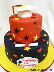 Grad School 10 Red, Yellow, and Black Masters Degree Graduation Cake