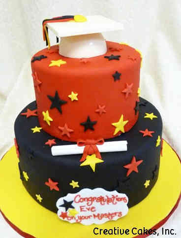 Grad School 10 Red, Yellow, and Black Masters Degree Graduation Cake