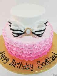 Feminine 51 Bow and Rosettes Birthday Cake