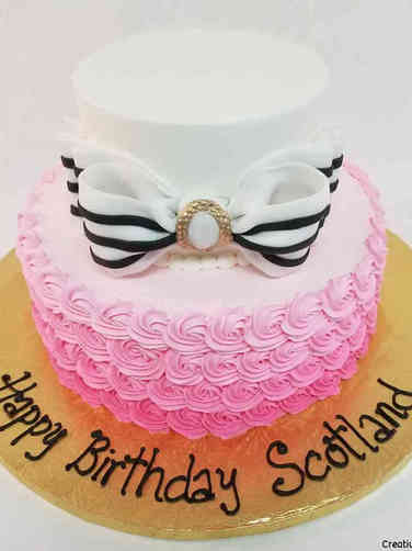Feminine 51 Bow and Rosettes Birthday Cake
