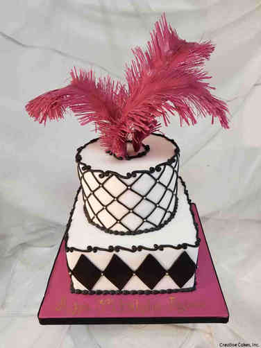 Feminine 44 Fabulous Feather Birthday Cake