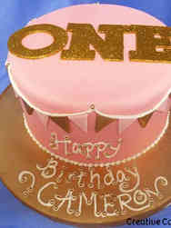 Girls 01 Pink and Gold Penants First Birthday Cake