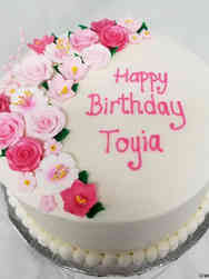 Floral 04 Lovely Pink Flowers Birthday Cake