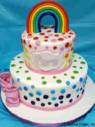 Princesses 04 Rainbow Polka Dots Birthday Cake