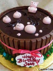 Animals 01 Pigs in Chocolate Birthday Cake