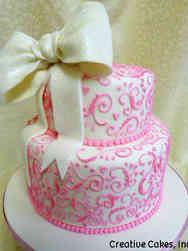 Unique 11 Lovely Pink Scrolls Bridal Shower Cake