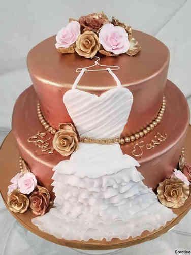 Dress 13 Pink and Rose Gold Bridal Shower Cake