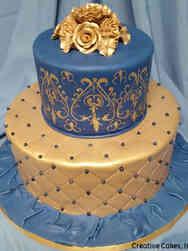 Floral 03 Elegant Damask Blue and Gold Wedding Shower Cake