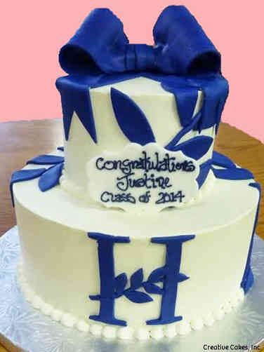 College 13 Elegant Bow and Branches College Graduation Cake