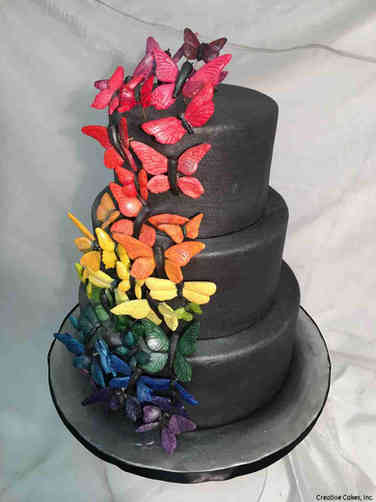 Unique 31 Butterfly Kaleidoscope Wedding Cake