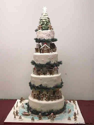 Winter 24 Gingerbread City Holiday Celebration Cake
