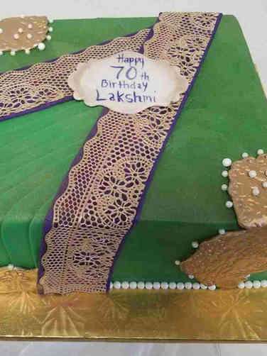 Feminine 21 Green Sari Birthday Cake