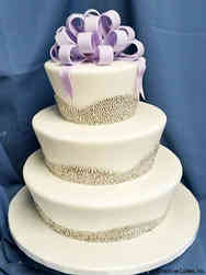 Elegant 04 Fluted Silver Pearls Wedding Cake