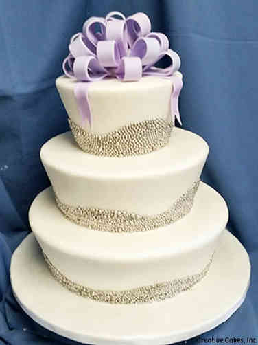 Elegant 04 Fluted Silver Pearls Wedding Cake
