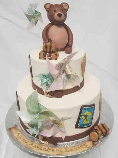 Neutral 07 Travel Adventure Baby Shower Cake
