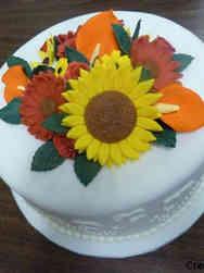 Autumn 11 Elegant Harvest Flowers Thanksgiving Cake