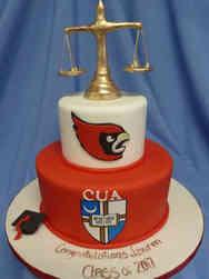Grad School 19 3D Scales of Justice Catholic University Law School Graduation Cake