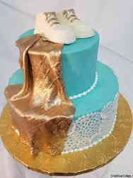 Neutral 06 Booties and Lace Baby Shower Cake