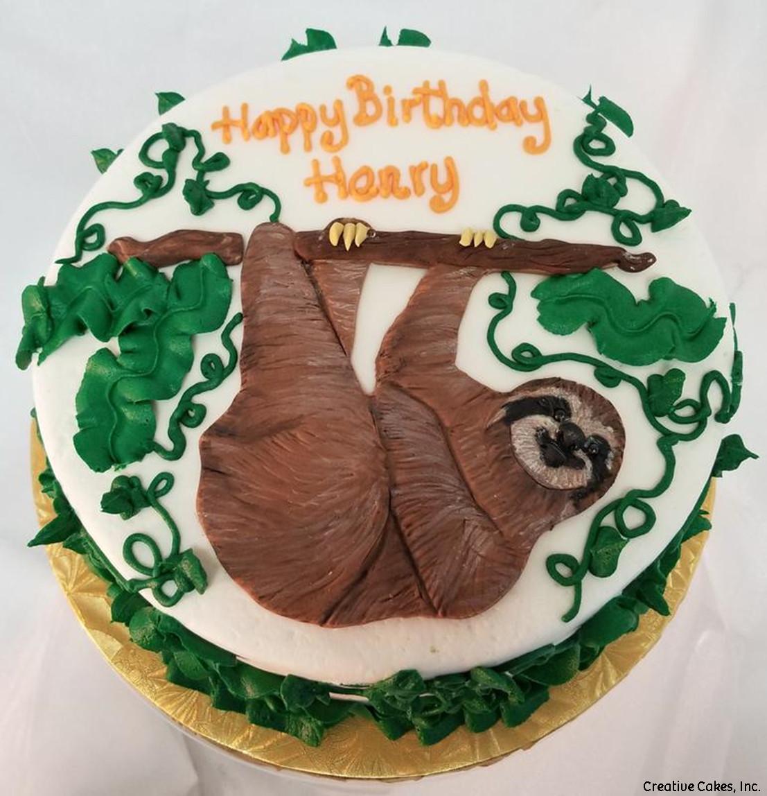 Animals 15 Sloth Birthday Cake
