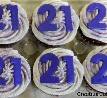 Adult 12 Purple 21st Birthday Cupcakes