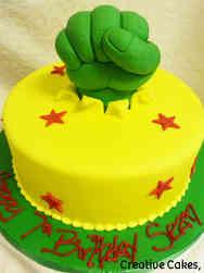 Superheroes 21 Hulk Fist Birthday Cake
