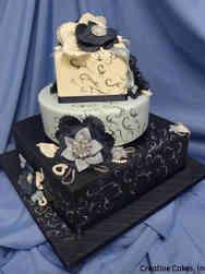 Unique 18 Blue Fabric Flowers Wedding Cake