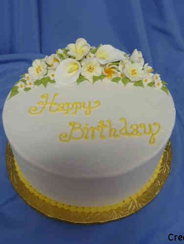 Floral 29 Yellow and White Birthday Cake